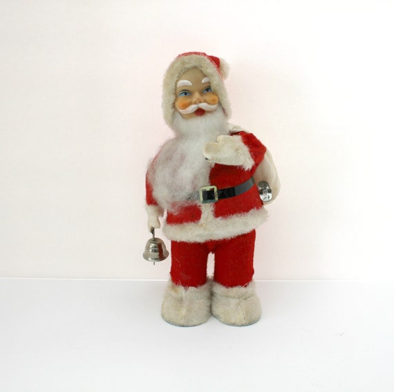 Vintage Wind Up Santa with Ringing Bell, Japan 1960s, Christmas Action Moving Santa Claus