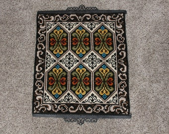 Vintage Woven Wall Hanging with Cast Iron Frame, Floral, 1960s, Psychedelic