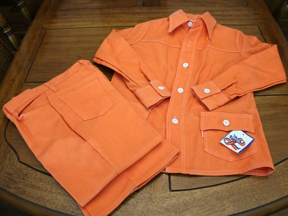 Levis For Me Big E Orange Leisure Suit, Pantsuit Trouser Suit with Tag, 1970s Wide Leg Pants, Shirt Jacket, Vintage Womens Outfit