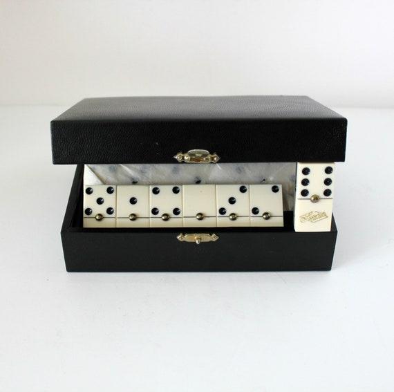 Vintage Superior Dominos Set of 28, 1950s Hard Plastic with 3D Plaid Backs