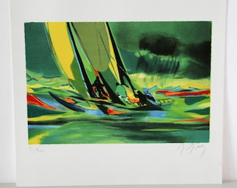 Marcel Mouly Sailing Yachting Print, Signed, Numbered 111/300, Green Ocean Boating