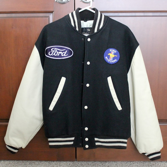 Vintage Ford Mustang Jacket Coat Letterman Style 1980s Golden Fleece Black Mens Jacket Size Large with Patches