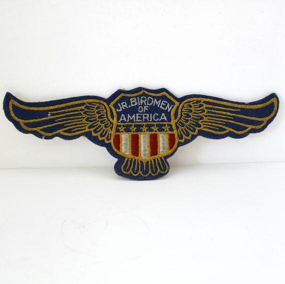 Rare Jr Birdmen of America Patch, Vintage Aviation 1930s Model Plane Building, Wing Shield