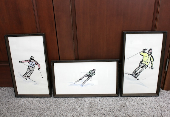 Set of 3 Original Watercolor Paintings Signed A. Falen | Vintage Skier Down Hill Ski Racing | Snow Skiing Wall Art