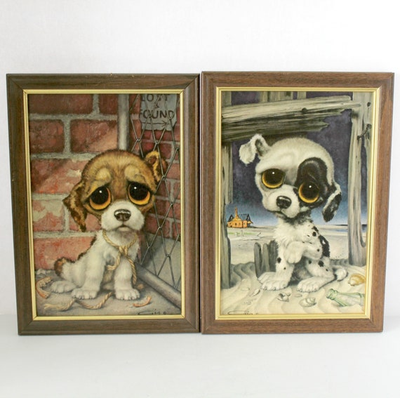 Pair Vintage Big Sad Eye Dog Prints by Gig | Pity Puppy Framed Puppies