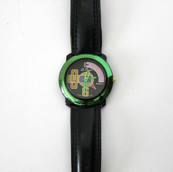 Vintage Le Baron Men's Watch Metallic Color Block 1980s Miami Vice Style
