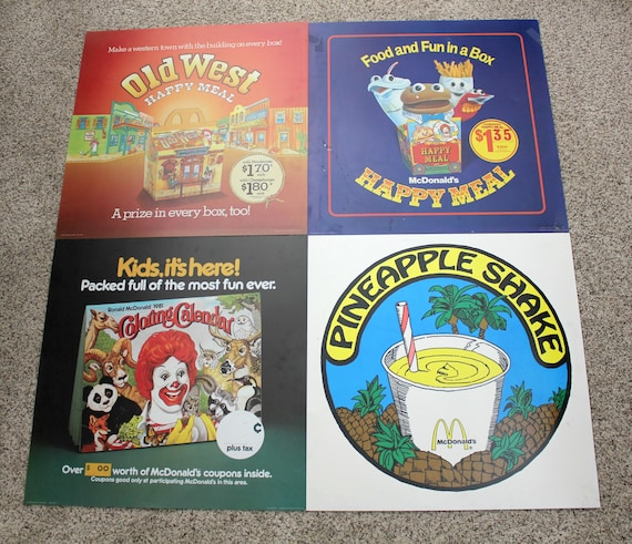 4 Vintage 70s 1980s McDonalds Drive Thru Posters, Ronald McDonald Clown, Happy Meal Advertisement, All or Your Choice