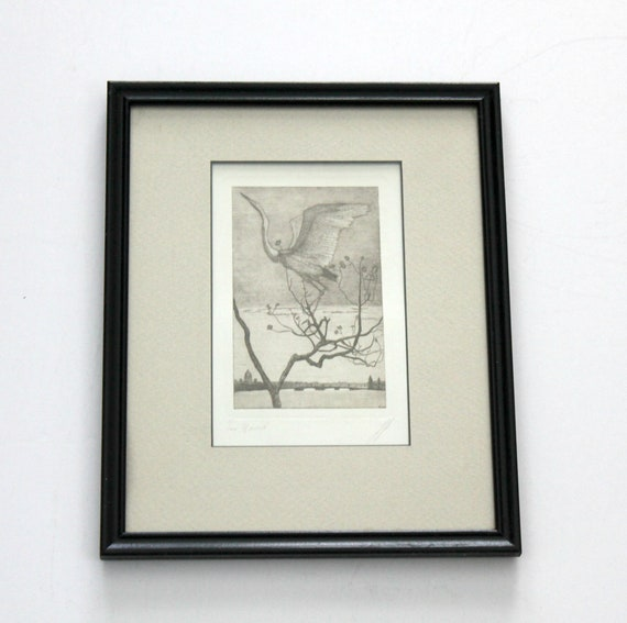 Vintage Wood Block Print of Crane Flying over River | Signed Numbered Framed
