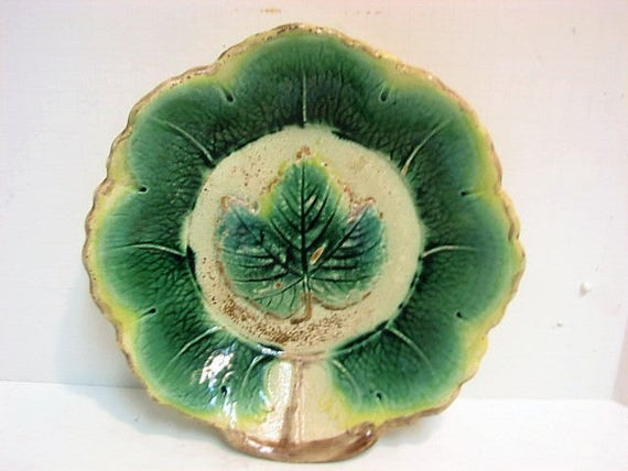 "Vintage Majolica Leaf Plate, Antique Dish with Green Leaves 10"" Across"