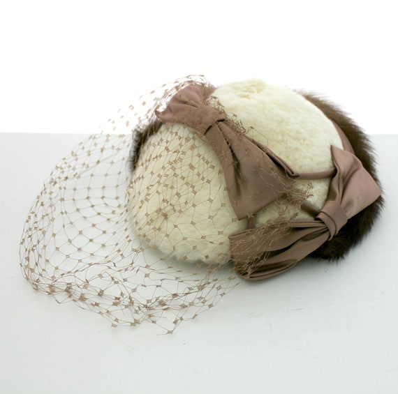 Antique Real Fur Veil Netting Hat with Bows, Vintage Mink and Rabbit Fur