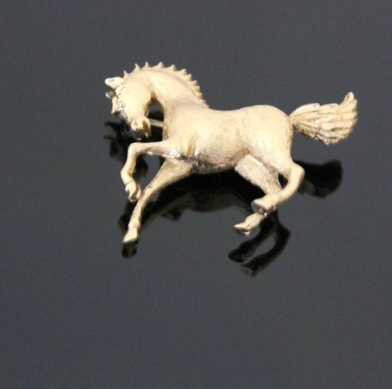 Vintage Monet Horse Brooch Pin, Gold Toned Mid Century Stallion