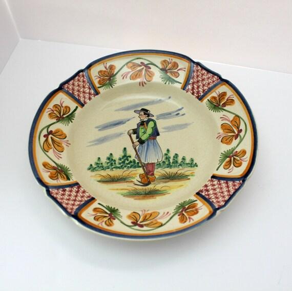 Vintage Quimper Breton Man Dish Shallow Bowl, HB Quimper 222 Pottery