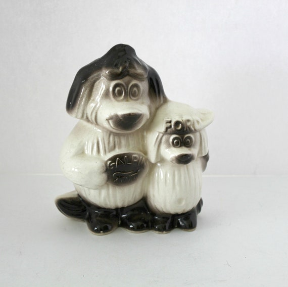 Vintage Galpin Ford Motor Car Co Dog Father Son Bank   1960s Ceramic Advertising Figurine