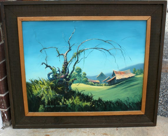 George Durkee 1974 Original Oil Painting, 30 x 24 Yakima, WA Landscape Art