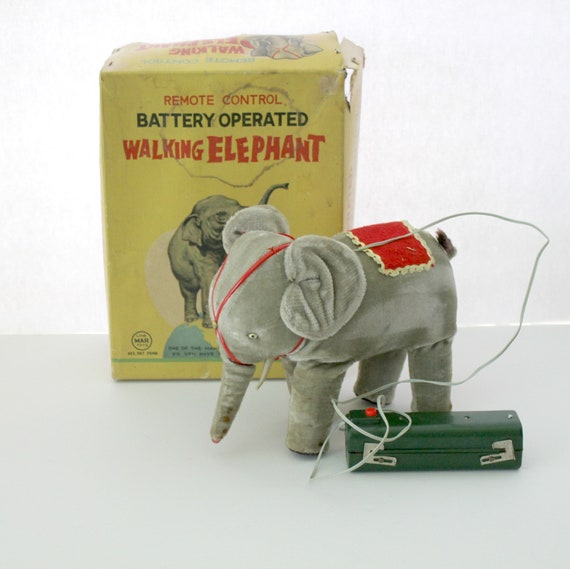 Vintage Walking Elephant Toy Light Up Trunk in Box by Linemar Japan Battery Operated Remote Control 1950s Toy