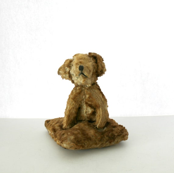 1930s Straw Stuffed Puppy Dog on Pillow Bed, Vintage Plush with Jointed Head