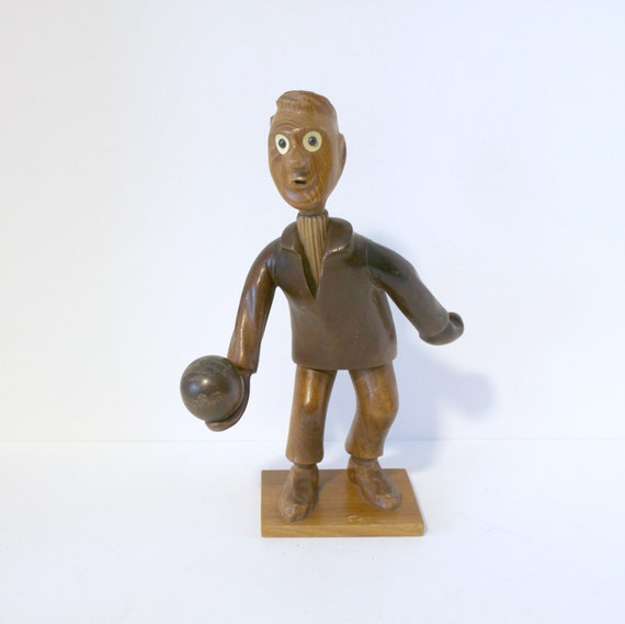 Vintage Bowler Wood Sculpture Man Bowling | Hand Made Italy | Mid Century Carved Wooden Figure