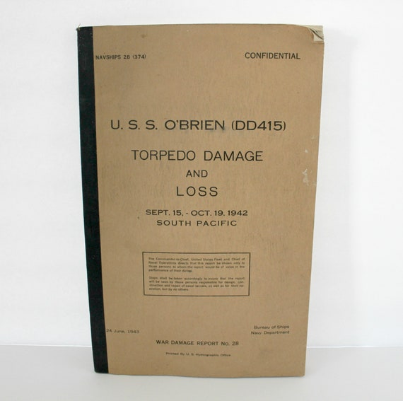 1942 WWII USS O'Brien Torpedo War Damage Loss Report Book Vintage 1943 Navy Naval Operations