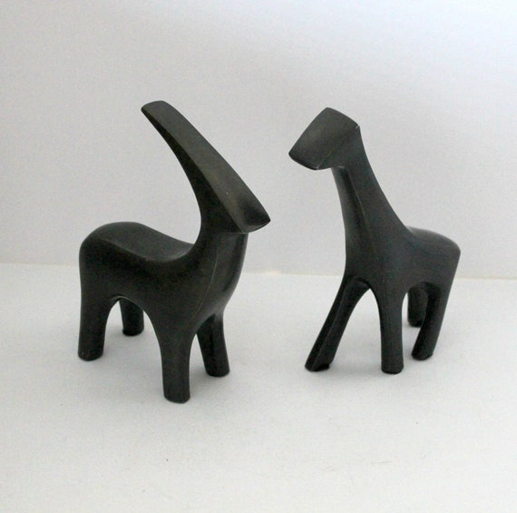 Vintage Abstract Giraffe and Gazelle Figures, Anodized Brushed Stainless Steel, Mid Century Modern Style