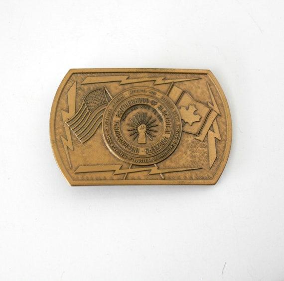 Vintage IBEW Belt Buckle, International Brotherhood of Electrical Workers, US Canada, Gold Tone Vintage Union Buckle