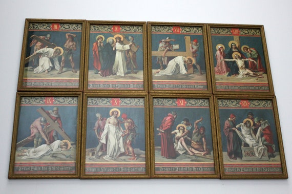 Vintage Stations of The Cross Set of 8 Framed 1930s Catholic Religous Wall Art