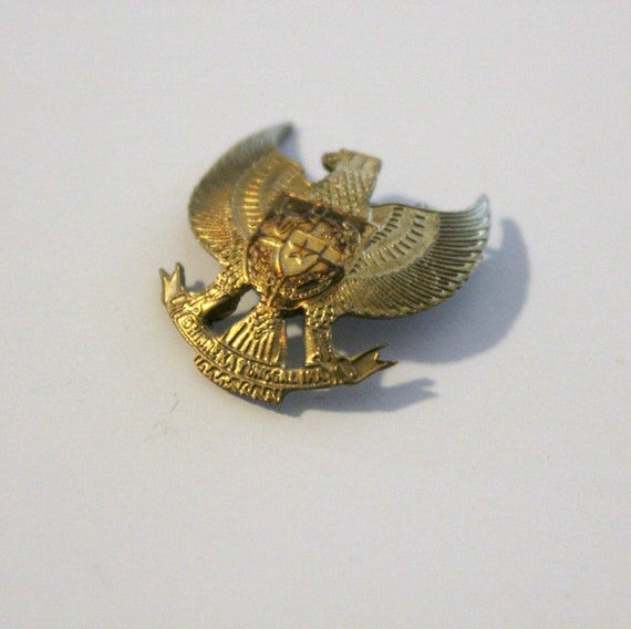 Vintage Indonesia Pin Eagle Crest Shield 1930s Military Diversity