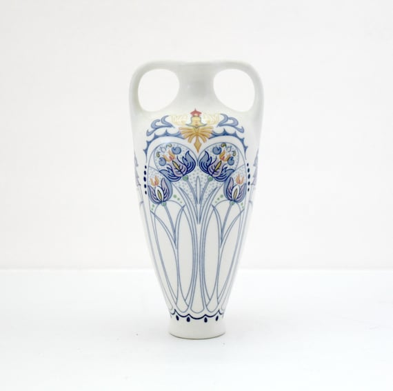 Royal Goedewaagen Amata Small Urn Vase Two Handles Blue White Art Nouveau