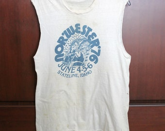 1976 Nor'Wester 76 Music Festival Muscle T Shirt Stateline Idaho Rare