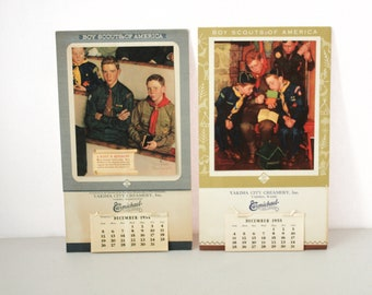1954 and 1955 Boy Scouts Calendar Norman Rockwell Pictures, Yakima City Creamery