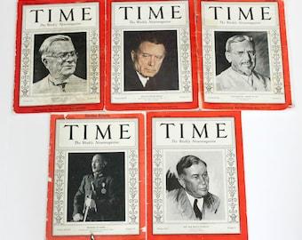 Vintage 1930s Time Magazine Lot, Roosevelt Election, News, World