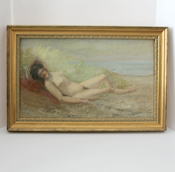 Antique Albert Insley Original Oil Painting Rare Nude on Griswold Beach CT 1905 in Gold Frame