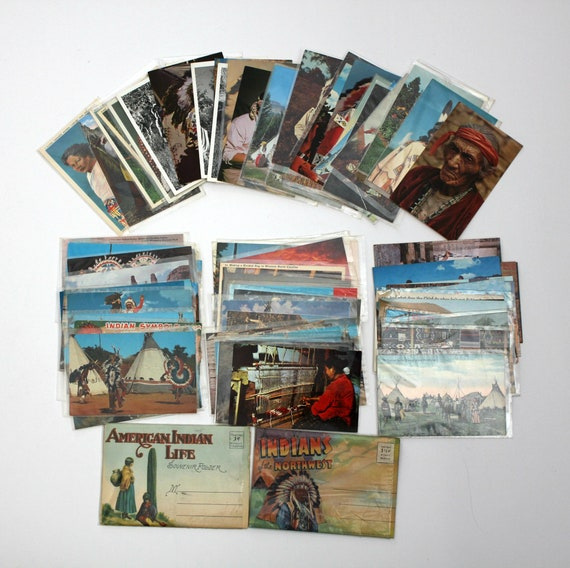 Lot 90+ Vintage Native American Postcards 1940s - 1970s Cherokee, Sioux, Navajo, Osage, Chief