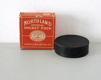 Northland Official Hockey Puck in Original Box, Vintage North Land Ski Mfg