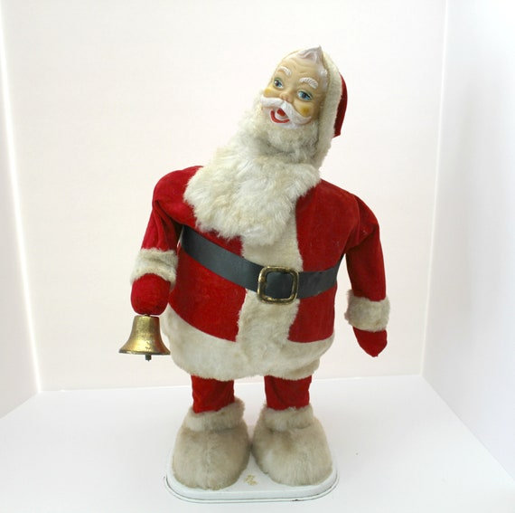 Large Vintage Animated Santa Light Up Bell Ringing Battery Operated 1950s Tin with Rubber Face