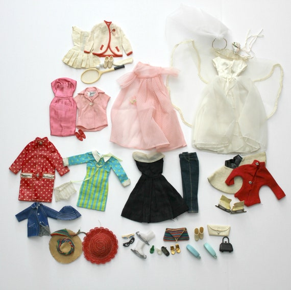 Vintage Barbie Doll Clothes 1960s Lot Outfits, Wedding, Skating, Tennis, Francie, Tutti