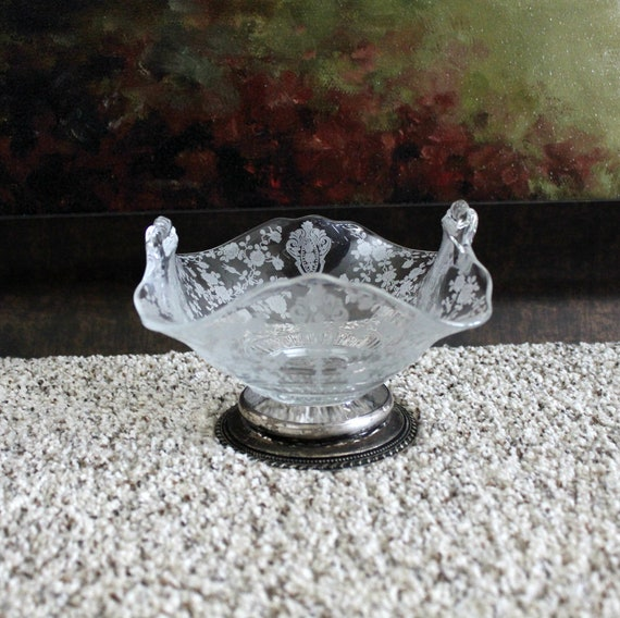 Vintage Wallace Sterling 4640 Rose Point Glass Compote Bowl Dish