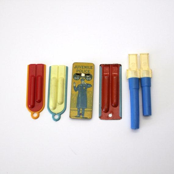 Vintage Lot 5 Tin Plastic Whistles, 1930s - 70s, Juvenile Police, Mountain Rescue