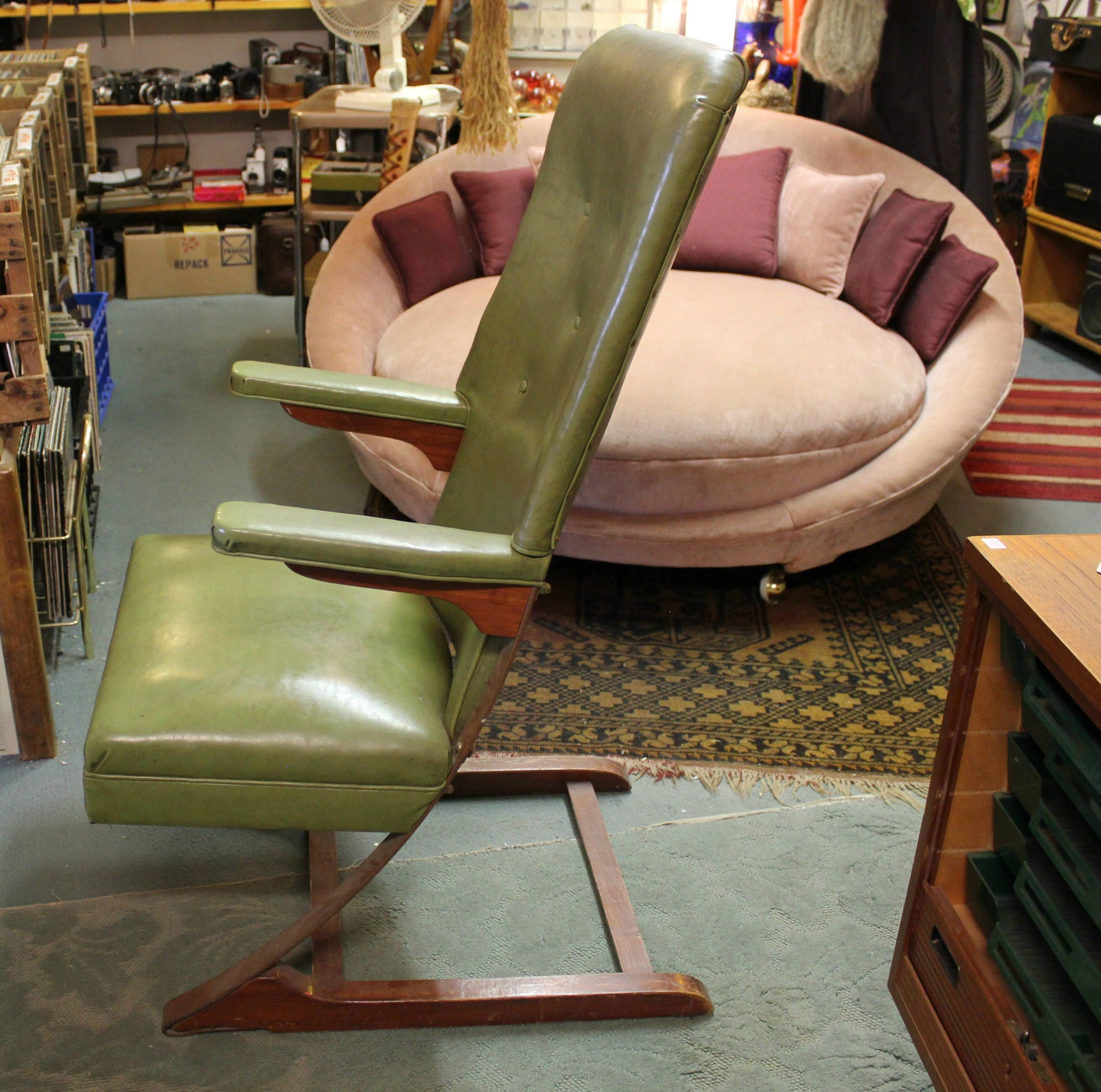 Mid Century Green McKay Cantilever Rocking Chair, Danish Modern High Back  Spring Bounce Rocker