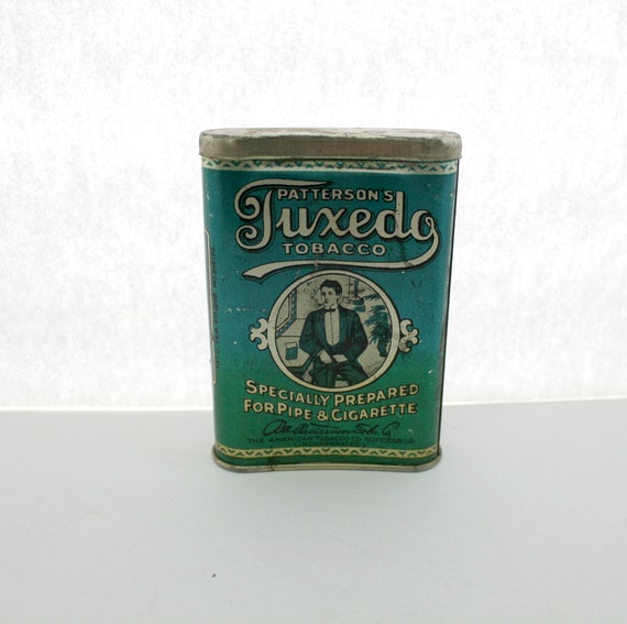 Antique Patterson's Tuxedo Tobacco Tin, Vintage Curved Pocket for Pipe Cigarettes