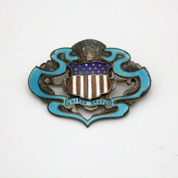 Antique WWI 1920s Sweetheart Sterling Enamel Brooch Pin US Military Shield Stars Stripes
