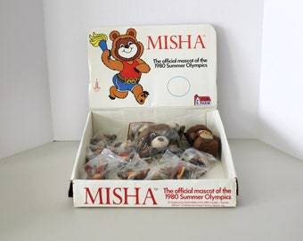 Misha 1980s Summer Olympics Mascot POS Box with 9 Sports Figures, NOS, Hand Puppet, Bank, Souvenirs