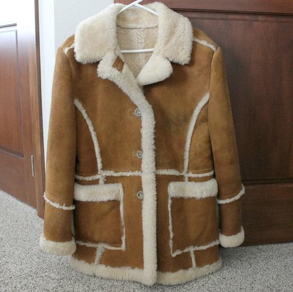 Vintage Suede Leather Coat, Sherpa Lined Women's 1970s Avanti Boho Coat Parka