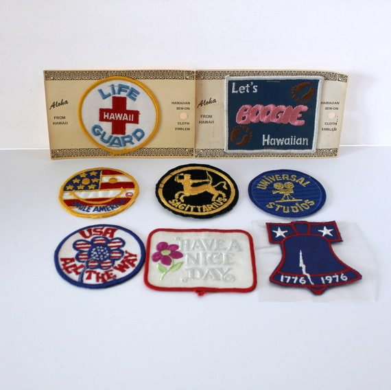 Lot 8 Vintage Patches Mod Hippie 1970s Flowers USA America, Hawaii Life Guard, Universal Studios, Liberty Bell