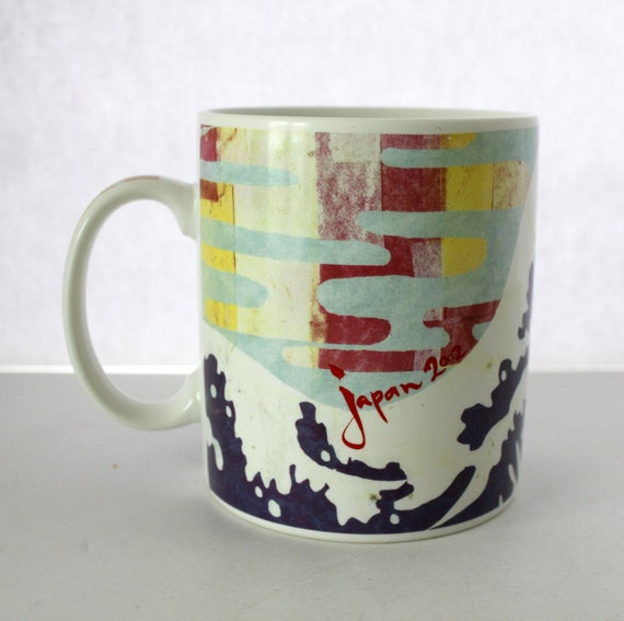 2002 Starbucks Japan Mug Coffee Cup 14 oz, Mt Fuji Waves