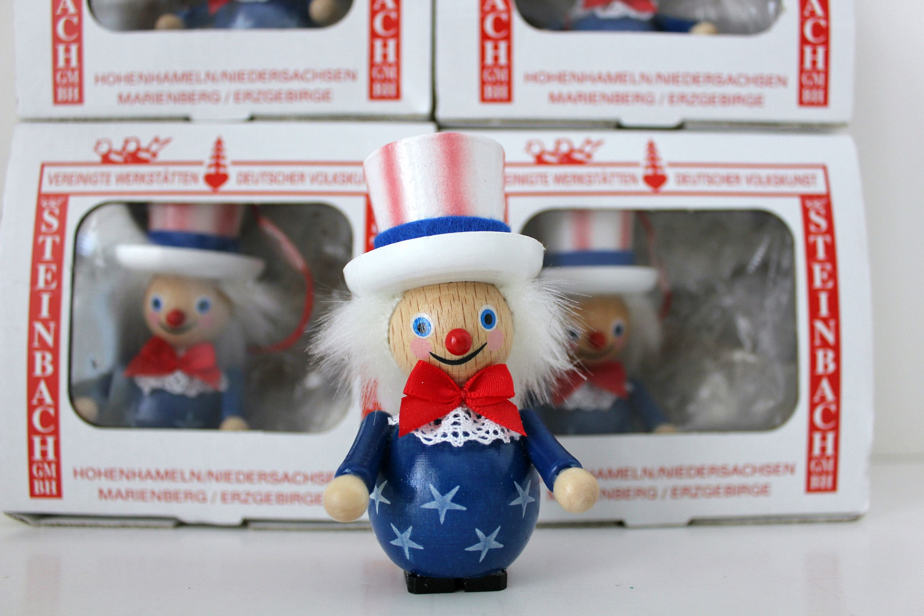 5 steinbach uncle sam wooden christmas ornaments in box volkskunst patriotic handmade in germany - German Handmade Wooden Christmas Decorations