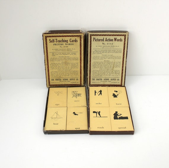 Vintage Harter School Supply Picture Action Word Flash Cards, Self Teaching, Education, Cleveland Myers, 1920s Early Learning Reading