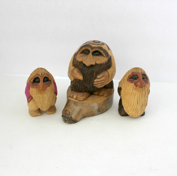 1984 B. Sibley Homely Egg Forms Trolls Hippie Painted Carved Wood Carvings