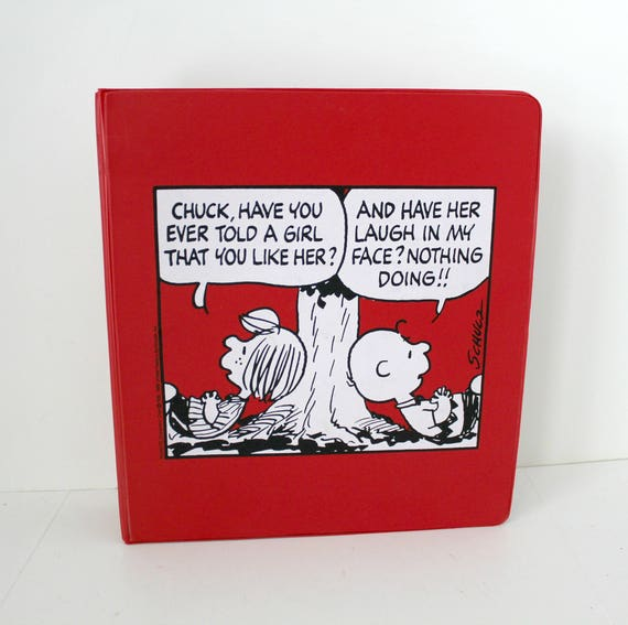 Vintage Peanuts Charlie Brown 3 Ring Binder Notebook, 1970s Peppermint Patty Red and White