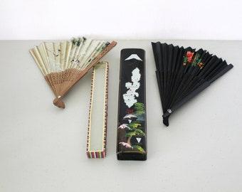 2 Antique Japanese Folding Hand Fans, Vintage Oriental Box