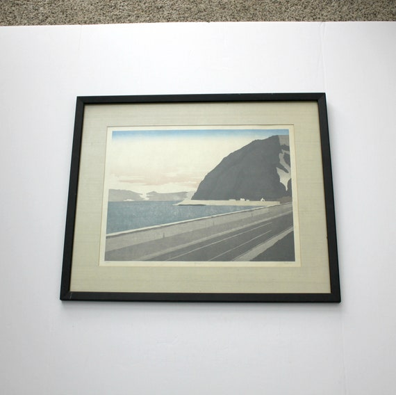 Bill Paden Woodblock Print, Beppu Japan, Vintage 1970s Signed, Beach Water Bay Mountain